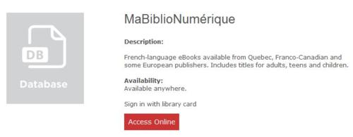 MaBiblioNumérique Access Online
